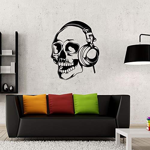 guijiumai Kreative Skeleton Wandaufkleber Schädel Musik Kopfhörer Dekoration Wandtattoo Abnehmbare Vinyl Kunst Aufkleber Wohnkultur Rosa 86x90 cm