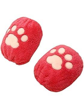 Juego de 2 Fundas para bebés de felpa Cubiertas para brazos/pies Accesorios para ropa de bebé-Rojo