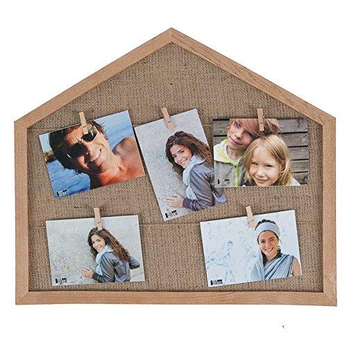 Haus Galerie (HAB & GUT -FR057- Bilderrahmen Haus aus Holz mit 5 Wäscheklammern, 44 x 46 cm, Collage, Galerie, Fotoleine)