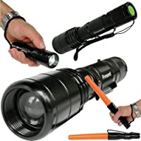 Lampe Torche Q5 CREE LED FA-0515 Rechargeable ULTRA PUISSANTE Portée de plus de 300m - 5 modes dont S.O.S. + bâton de détresse + mallete de transport par Ixpo