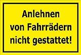 Melis Folienwerkstatt Schild - Anlehnen von Fahr-rädern nicht gestattet - 30x20cm | stabile 3mm starke PVC Hartschaumplatte – S00050-015-C +++ in 20 Varianten erhältlich
