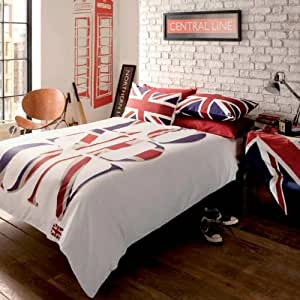 londres london union jack parure de lit housse de couette. Black Bedroom Furniture Sets. Home Design Ideas