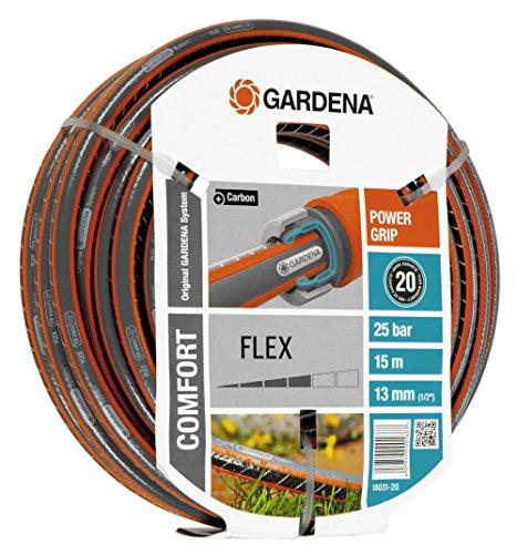 Gardena Comfort Flex Schlauch Formstabiler, Flexibler Gartenschlauch mit Power-Grip-Profil, Spiralgewebe, 25 bar Berstdruck, ohne Systemteile, 13 mm, 1/2 Zoll, 15 m