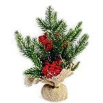 Vetrineinrete® Albero piccolo di natale con bacche rosse e neve centrotavola decorativo da 25cm mini alberello decorazioni natalizie addobbi per casa ufficio 87981 D31