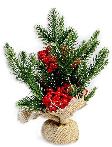 c2377c38e6 Vetrineinrete Albero piccolo di natale con bacche rosse e neve centrotavola  decorativo da 25cm mini alberello