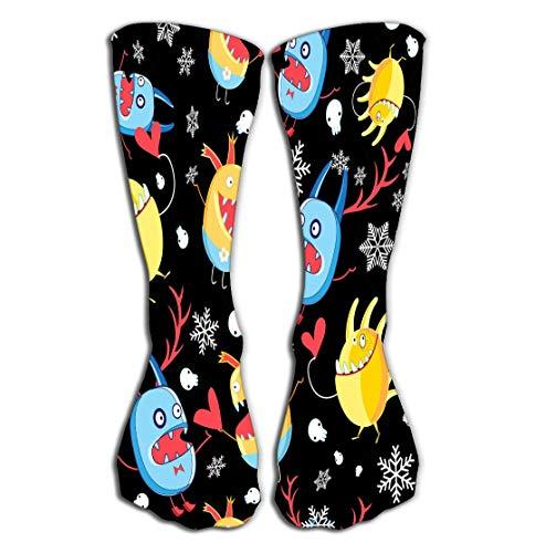 No Soy Como Tu Hohe Socken Outdoor Sports Men Women High Socks Stocking Graphic Pattern Monsters Love Dark Background Snowflakes Fun Tile Length 19.7