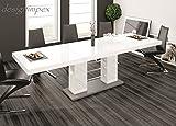 Design Esstisch HE-111 Weiß - Grau Hochglanz ausziehbar 160 - 260 cm