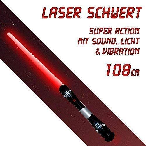 Lichtschwert Action mit Sound Licht in rot Vibration ()
