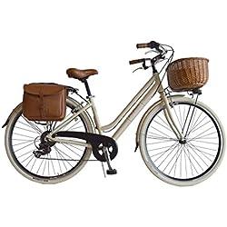 Via Veneto Bicicleta Clasica de Paseo Mujer - Retro Alu Donna, Panna