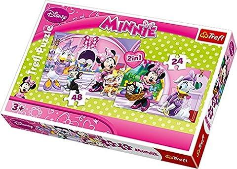 Trefl - 34166 - Puzzle - 2 en 1 - Disney Minnie - Shopping