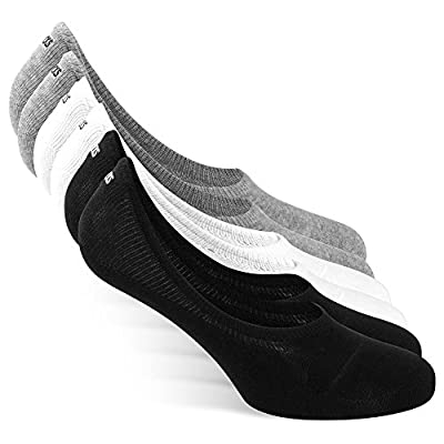 SNOCKS Women & Men Invisible Socks / No Show Socks (6 Pairs) Size 3 - 14 (Black, White, Grey) - Cotton