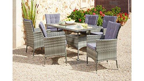 baumarkt direkt Gartenmöbelset Santiago New, 19-tlg., 6 Sessel, Tisch 150x80 cm, Polyrattan grau