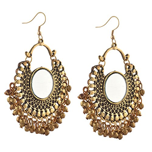 Zephyrr Fashion German Silver Afghani Dangler Hook Chandbali Earrings Mirrors For Girls and Women