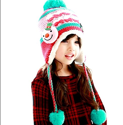 Nouveau Enfants En Tricot Chapeaux Casquette unisexe en polaire hiver au chaud filles garçons de Noël Rose