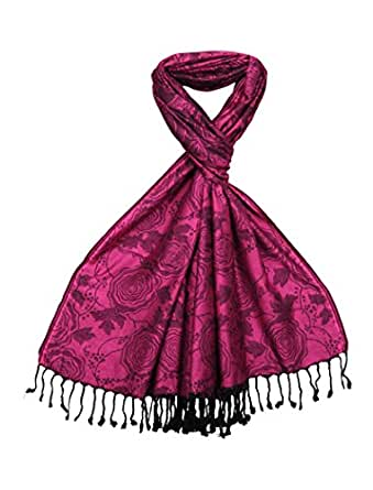 Womens Scarf Pink with Jacquard Rose Design - Lovazi women's scarfs - Ladies Pashmina Winter Shawl