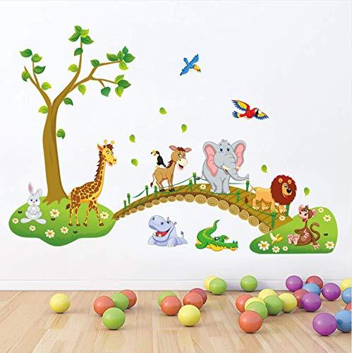 Wandaufkleber Cartoon Crossing Bridge Tiere Wandaufkleber Für Kinderzimmer Schlafzimmer Wohnzimmer Wohnkultur Kunst Aufkleber Wandbild Removable Poster -