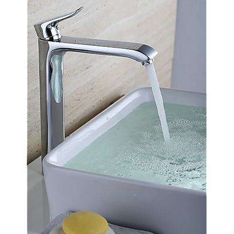 Contemporanea Finitura cromata in Ottone foro di una singola maniglia il lavandino del bagno tocca semplice ed elegante classico di lusso e design resistente