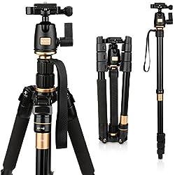 AFAITH Trépied/Monopode caméra professionel Compact pour Appareil Photo Reflex numérique Canon Nikon Sony DSLR q-555
