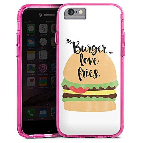 Apple iPhone 8 Bumper Hülle Bumper Case Glitzer Hülle Burger Hamburger Fastfood Bumper Case transparent pink