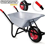 Monzana Schubkarre 100 Liter Bauschubkarre Gartenschubkarre bis 250kg Belastbarkeit Luftreifen mit Stahlfelge verzinkt stabile Ausführung mit Aufliegewanne