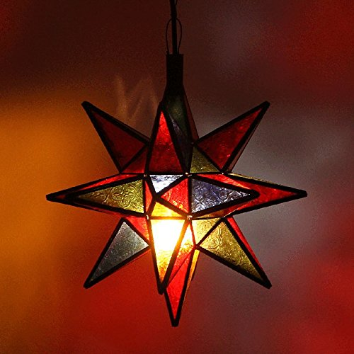 Orientalische Lampe Marraokkanische Stern | Pendelleuchte bunte Deckenlampe Leuchtstern | Echtes Kunsthandwerk aus Marrakesch für tolle Farbspiele wie aus 1001 Nacht | Hängelampe Nasima Multi