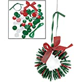 Button Wreath Ornament Craft Kit - Crafts For Kids & Ornament Crafts, Makes 6