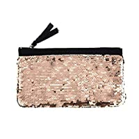 Haodou.Shiny Reversible Sequin Glitter Pencil Case Sparkling Cosmetic Bag Make up Pouch for Girls Teenage Women Travelling