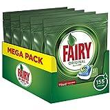 Fairy Original 155 Pastiglie per Lavastoviglie Regolare, Detersivo Maxi Formato da 155 Capsule, 5 Confezioni da 31 Caps