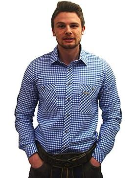Klassisches Herren Trachtenhemd blau weiß kariert Peine Herrenhemd Slim Fit Langarm blau