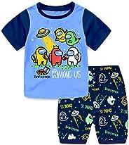 Suyaluoi Conjunto de pijama de verano Among us de Among para niños y niños, camiseta de manga corta con person