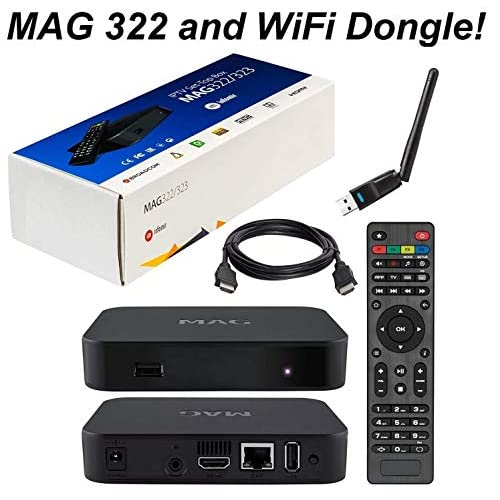 51wzmSGBzFL. SS500  - MAG 322 Original Infomir Linux IPTV Set Top Box Multimedia Player Internet TV IP Receiver HEVC H.265 The 254 Successor with UK Plug HDMI Cable and XstreamTec USB WLAN WiFi Dongle Antenna