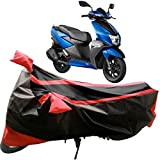#4: Adroitz Premium Matte Black & Red Double Stripe TVS Ntorq 125 Bike Body Cover with Mirror Pocket