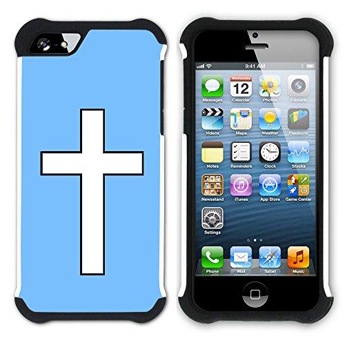 Graphic4You Kreuzr Design Hart + Weiche Kratzfeste Hülle Case Schale Tasche Schutzhülle für Apple iPhone SE / 5 / 5S (Aqua Blau) Hellblau