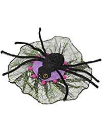 Mini Spider Web Fascinator Hat & Clip Halloween Accessory Fancy Dress[Purple]