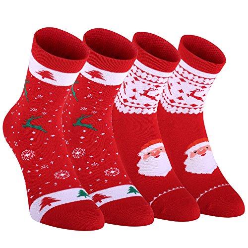 Fazitrip Weihnachten Socken Weihnachtssocken Weihnachtsstrumpf 2 Paar Socken Christmas Stocking Sportsocken für Damen Herren