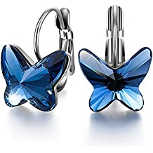 """Sivery """"Butterfly Dream"""" Hoop Earrings Made with Blue Swarovski Crystals, Jewellery for Women"""