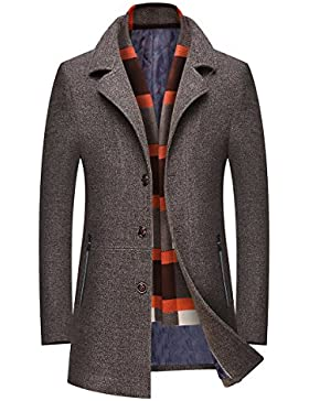 Mirecoo - Abrigo - chaqueta guateada - Básico - cuello mao - Manga Larga - para hombre