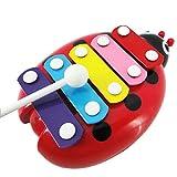 Amison Bébé enfant enfants 5-Note Xylophone Musical Toys sagesse développement Beetle G musicales jouets éducatifs des cadeaux de Noël pour les enfants (Rot)