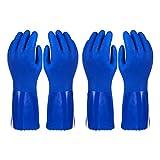 2Stück Paar Haushalts-Handschuhe Baumwolle gefüttert Gericht Handschuhe–Geschirrspülen Handschuhe–Gummi Handschuhe–Küche Handschuhe, Blau