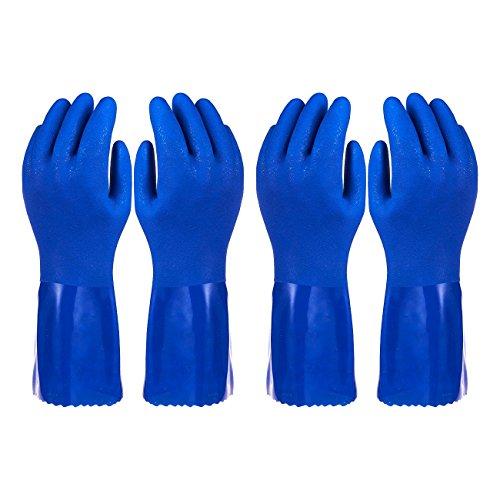 2Stück Paar Haushalts-Handschuhe Baumwolle gefüttert Gericht Handschuhe-Geschirrspülen Handschuhe-Gummi Handschuhe-Küche Handschuhe, Blau - Aus Gummi Garten-handschuhe