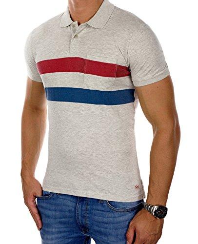 JACK & JONES Herren Poloshirt jorKNOT Polohemd Print Baumwolle Slim Fit Cremeweiß (Treated White Fit:SLIM)