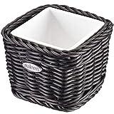 Saleen Körbchen mit herausnehmbarer Porzellan-Schale, Gastrotauglich, Quadratisch, Maße: 9,5 x 9,5 x 7,5 cm, Kunststofffaser/Porzellan, Schwarz/Weiß, 02100819160