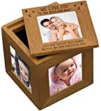 Personalised WE LOVE YOU TO THE MOON AND BACK MOON & STARS Natural Oak Wooden MULTI PHOTO PICTURE CUBE Frame Gifts Presents for her him Mothers Day Mum Mummy Dad Daddy Fathers Birthday Christmas Grandparents Nanny Grandma Grandpa Auntie Sister Uncle Godparents Godmother Godfather Novelty Keepsake Gift Idea Christening Thank You