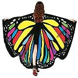 OVERDOSE Frauen 197 * 125CM Weiche Gewebe Schmetterlings Flügel Schal feenhafte Damen Nymphe Pixie Halloween Cosplay Weihnachten Cosplay Kostüm Zusatz (168 * 135CM, D-Multicolor-168 * 135CM)