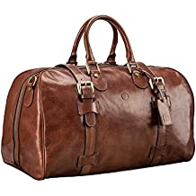 Maxwell Scott® Bolsa de viaje mediana en piel Italiana 38L (FleroM)
