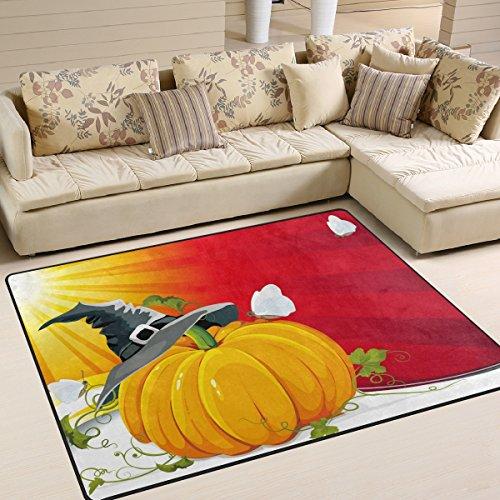 DEYYA Moderne Halloween-Kürbis mit Ray Hintergrund Vektor Bild Moderne Wohn-Schlafzimmer weichen Teppich Teppich 6'7