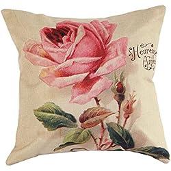 Rose Elegant motif canapé lit Maison Café Decor taie d'oreiller Carré housse de coussin Linge de coton Invisible fermeture à glissière 43cm*43cm