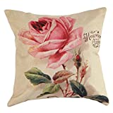 Dekorativer Kissenbezug mit Blumenmuster, 43cm x 43cm, mit Rosenmotiv, Baumwolle/Leinen, quadratisch, Sofadekoration, schöne Schutzhülle für Kissen 1