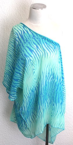 NB24 Tunika Überwurf, Cape, Poncho (a S-453 g), türkis blau mint mit Muster (Zebra Animal Print), mit Ärmel- und Halsausschnitt, Strandbekleidung, Sommermode
