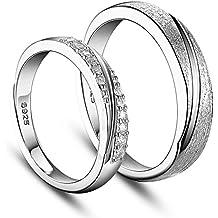 SWEETIEE Plata de ley 925amantes de los anillos de pareja para, grabado esmerilado y AAA Zircon, platino, 17–19mm (ajustable)